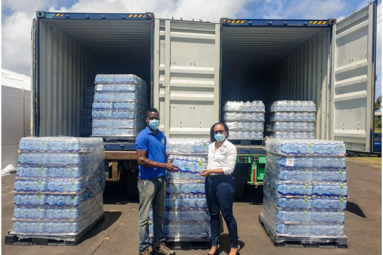 Food Centre SVG donates water to NEMO