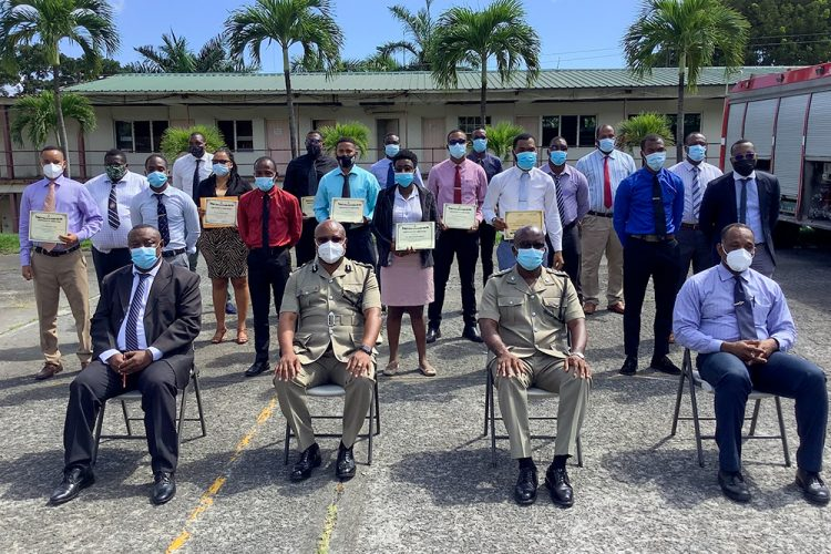 Police officers receive training in fingerprinting