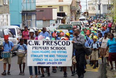 C.W. Prescod students raise hats to reading