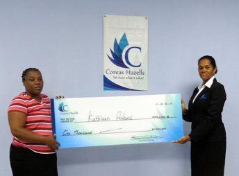 Coreas Hazells makes donation  to bladder patient